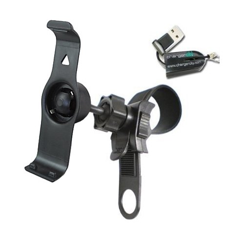 ChargerCity Exclusive Garmin Nuvi 2555 2595 LT LMT GPS Bicycle Bike Motorcycle Mount Kit with Dedicated Nuvi 2555 2595 Bracket Cradle & Strap Lock Handle Bar Mount for up to 1.5