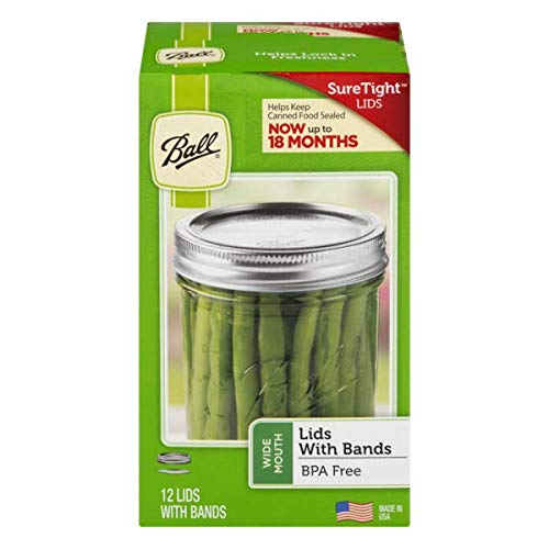 Ball Wide Mouth Canning or Mason Jar, Includes Both Lids and Bands (Rings) 12 Lids and 12 Bands or 1 Dozen. Combined with One Cap Ball Wide Plastic Storage Cap. by Ball