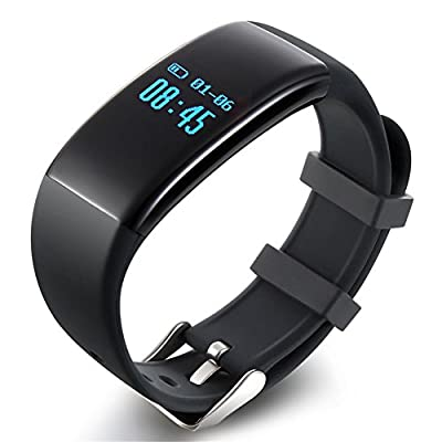 Fitness Tracker with Heart Rate monitor Activity Watch Step Walking Sleep Counter Wireless Wristband Pedometer Exercise Tracking Sweatproof Sports Bracelet for Android and iOS EIISON Black