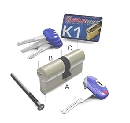 a//b ABUS XP20S doppio cilindro lunghezza con funzione di rischio e protezione antiforatura SKG con scheda di sicurezza e 5/chiavi con clip 30//35/mm c = 65/mm
