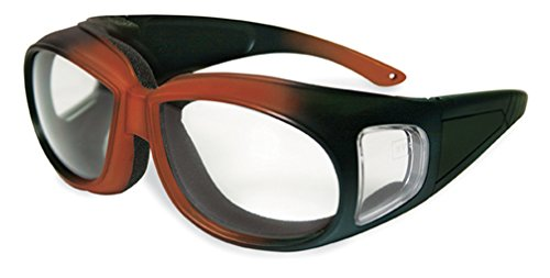 Specialized Safety Products KACHESS ORG/BLK CL A/F 95186 Unisex Safety Glasses with Orange/Black Frames and Clear Anti-Fog - Construction With Glasses Prescription