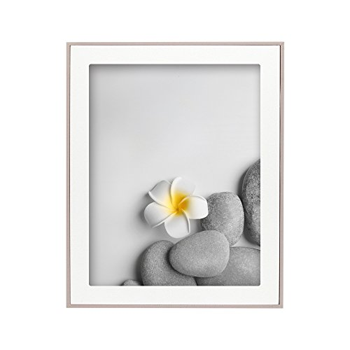 SUMGAR 8x10 Picture Frame with White Wooden Mat in Silver Grey Thin Edge - Modern Photo Frames for Desk and Wall - Edge Photo