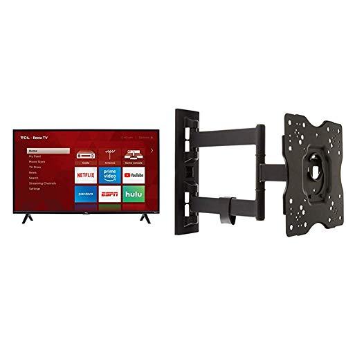 TCL 40S325 40 Inch 1080p Smart LED Roku TV (2019) & AmazonBasics Heavy-Duty, Full Motion Articulating TV Wall Mount for 22-inch to 55-inch LED, LCD, Flat Screen TVs