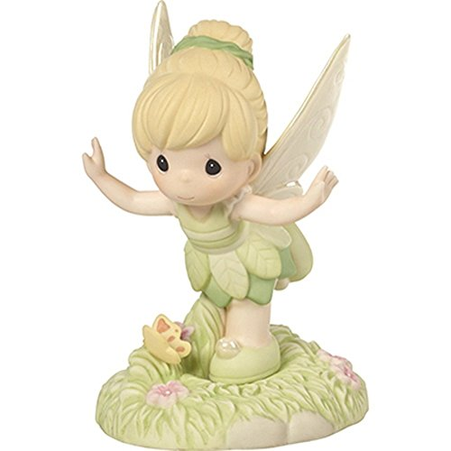 (Precious Moments 172056 Believe You Can Fly Bisque Porcelain Figurine Disney Showcase Peter Pan's Tinker Bell, One Size, Multi)