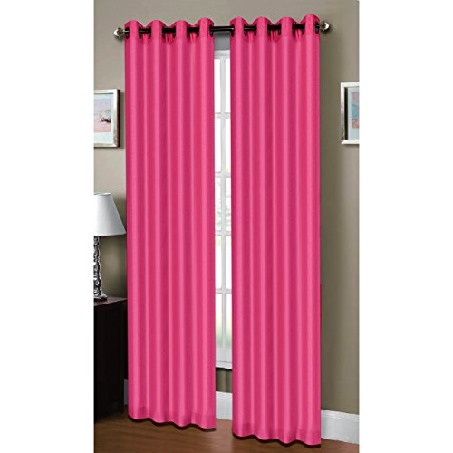 Window Elements Raphael Heathered Faux-Linen Extra-Wide 53 X 84 in. Grommet Curtain Panel, Pink Fuchsia