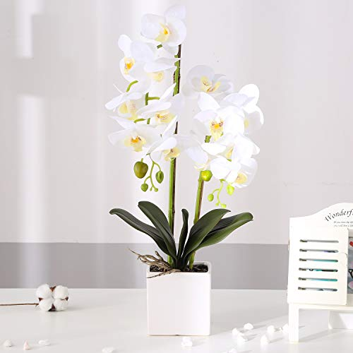 KINBEDY Artificial Bonsai Silk Orchids Phalaenopsis with Vase Home Office Decoration Party Wedding Decor, White-Square Ceramics Vase. (Arrangements Large Orchid)