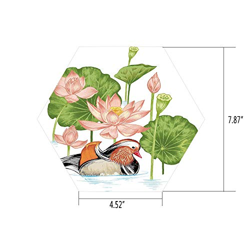Hexagon Wall Sticker,Mural Decal,Duck,Baby Mandarin Duckling in Pond with Lotus Lily Flowers Water Painting Style,White Green and Pink,for Home Decor 4.52x7.87 10 Pcs/Set ()