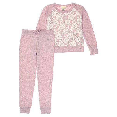 Guess Big Girls 2-Piece Sweatshirt & Lounge Pants Set 10 Pink