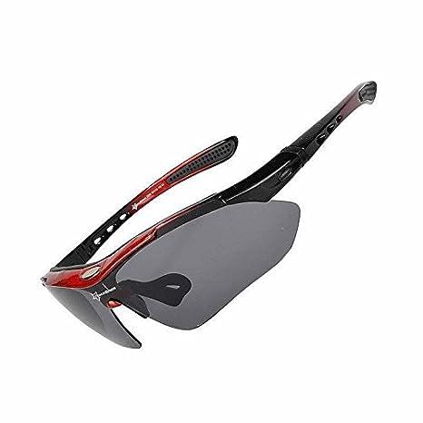 13fb629fcf RockBros Bicicleta Gafas Gafas de sol Outdoor polarizado gafas 5 Lente  Negro y Rojo, rojo: Amazon.es: Deportes y aire libre