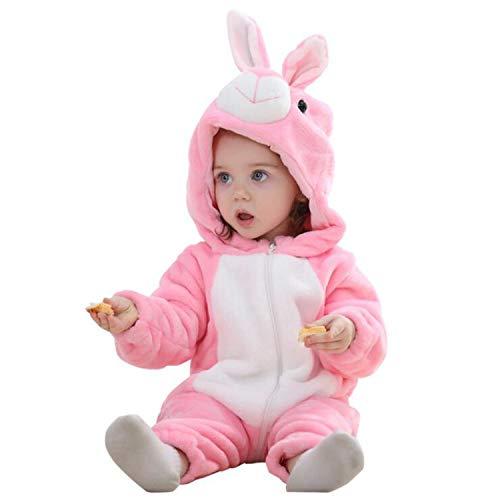 (Newborn Infant Baby Boys Girls Winter Cute Rabbit Hooded Romper Costume Warm Fleece Jumpsuit Pink 12-18)