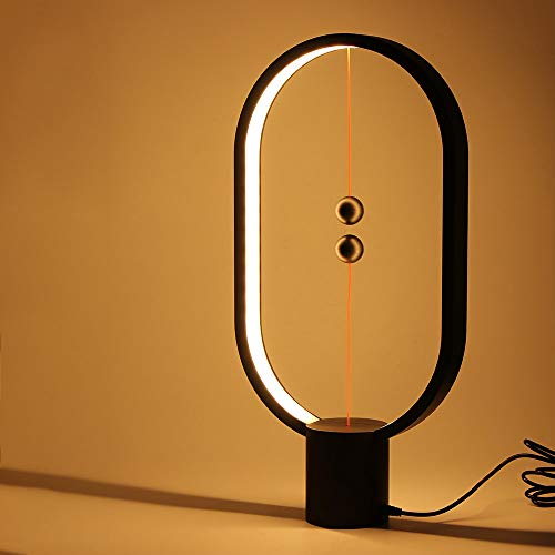Balance Lamp, Powstro LED Night Light with Magnetic Suspension Switch 48LEDs Brightness USB Powered Table Lamp Art Lamp for Bedroom Office Home Decoration - Black