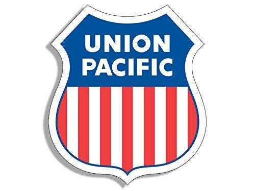 (MAGNET 4x4 inch Shield Shaped UNION PACIFIC Railroad Sticker -us logo line rr sign rail Magnetic vinyl bumper sticker sticks to any metal fridge, car, signs)