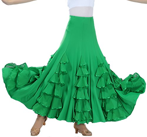 Whitewed Long Modern Flamenco Waltz Standard Ballroom Dance Fancy Training Skirt
