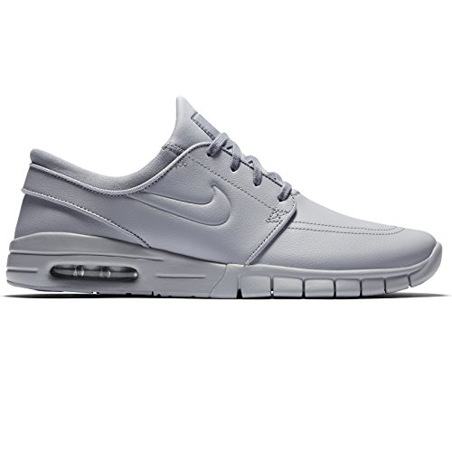 Nike Herren SB Stefan Janoski Max L Grau Leder Sneaker Grau (Wolf Grey/Metallic Pewter)