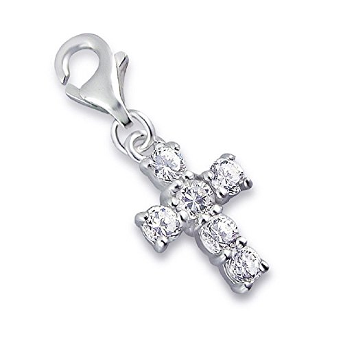925 Solid Sterling Silver Dangling Clip-on Clear Crystal Cross Charm (Dangling Silver Bracelet)