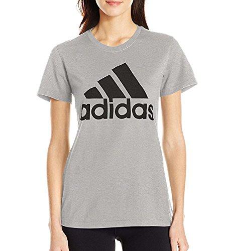 adidas Women's Badge of Sport Logo Tee, Medium Grey Heather/Black, (Adidas Gym Clothes)