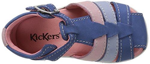 Kickers Bigfly - Primeros Pasos de Otra Piel Bebé-Niños Bleu (Bleu Bleu Clair Rose)