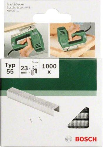 Bosch 2609255829 Set de 1000 agrafes /à dos /étroit Type 55 Largeur 6 mm Epaisseur 1,08 mm Longueur 23 mm