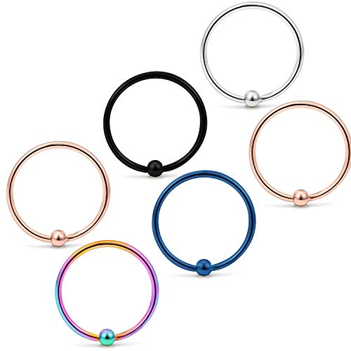 (Yaalozei 6PCS 20G 10mm Stainless Steel Attached Captive Bead Nose Hoop Rings Eyebrow Cartilage Helix Hook Earring Septum Ring Piercing Jewelry for Men Women Mix Color 2#)