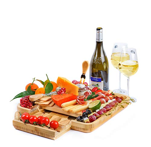 (Cheese Board with Cutlery Set - Bamboo Cutting Wood Board - Wine Desk - Gift)