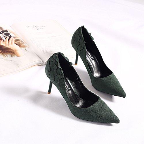 Punta del alto talón zapatos zapatos de tacón alto de satén con Su fino-flor singles femeninos zapatos The green