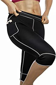 Women Hot Neoprene Sauna Sweat Shorts Pants with Pocket for Workout Weight Loss Thighs Slimming Capris Legging