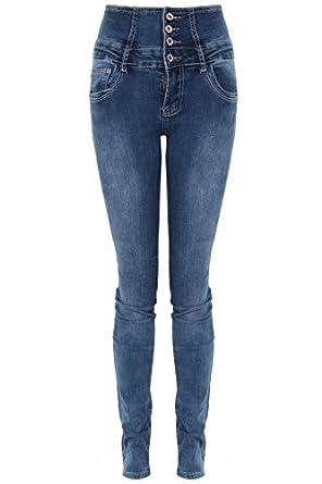 b187a9947904 Fantasia Boutique femmes àélastique taille haute Jeans délavé coupe élancée  Skinny élégant Jeans  Amazon.fr  Vêtements et accessoires