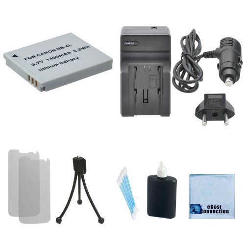 NB-4L Battery Replacement + Car/Home Charger For Canon PowerShot ELPH Series 100 HS, 300 HS, 310 HS, 330 HS, TX1, Digital Series 40, 50, & More.. Camera + Complete Starter (Lenmar Canon Replacement Battery)