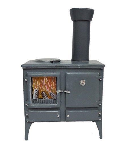 Melody Jane Dollhouse Wood Burning Stove Oven Grey Miniature Kitchen Furniture (Miniature Stove Wood)