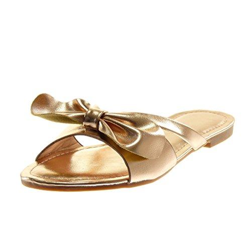 Angkorly Damen Schuhe Mule Sandalen - Slip-on - Knoten - String Tanga Blockabsatz 1.5 cm Champagner