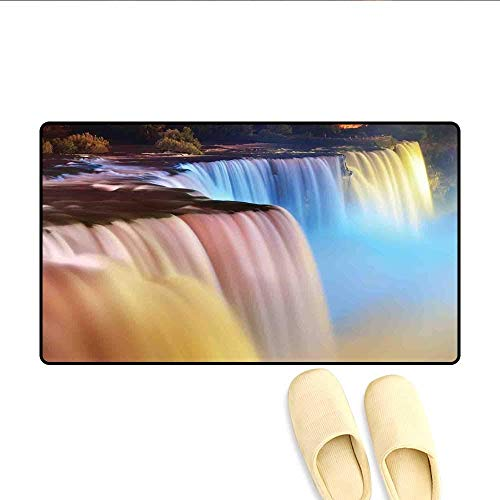 YGUII Doormat Niagara Falls Colorful Cascade Stream at Night View Waterfall Scenic Picture Bath Mat for Tub Multicolor 16X23.6in (40x60cm) (Niagara Falls Waterfall)