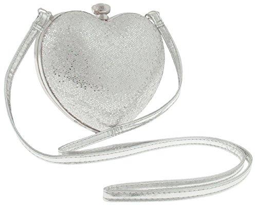 Capelli New York Molded Heart Shape Hologram Mesh Glitter Crossbody Bag Silver Combo No Size Capelli Heart