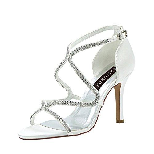 ERIJUNOR E1789 Stiletto Dress Sandals High Heel Strappy Rhinestones Bridal Wedding Dance Party Shoes Ivory Size 7 -