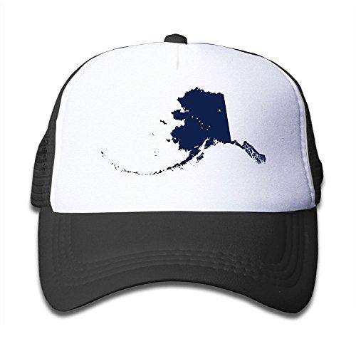 Discount DNUPUP Kid's Flag Map of Alaska Adjustable Casual Cool Baseball Cap Mesh Hat Trucker Caps for cheap