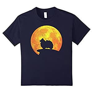 Kids POMERANIAN Dog Orange Halloween Costume Vintage T-shirt 12 Navy