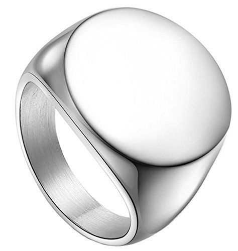 HIJONES Men's Stainless Steel Polished Round Top Signet Style Ring Silver Size - Signet Silver
