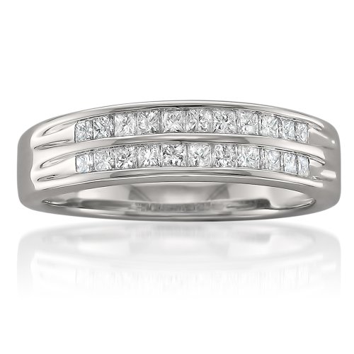 Double Baguette Row - 14k White Gold Princess-cut Diamond Double Row Bridal Wedding Band Ring (1/2 cttw, I-J, I1-I2), Size 7