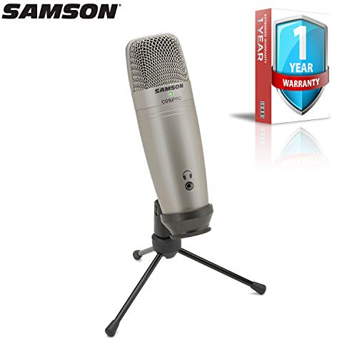 (Samson C01U Pro USB Studio Condenser Microphone (Silver) with Extended Warranty Bundle)