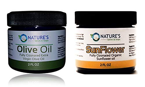 2 Oz. Fully Ozonated Organic Extra Virgin Olive Oil Salve & 2 Oz. Fully Ozonated Organic Cold Processed Sunflower Oil (Best Oil For Oil Pulling Sinus Infection)