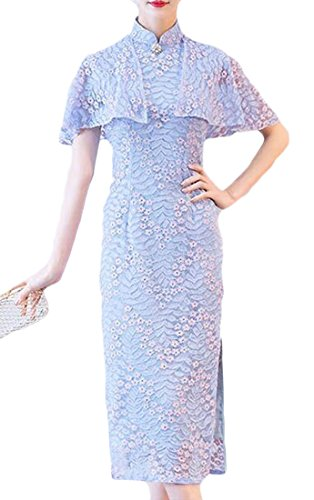 Summer Long Women's Cromoncent Dress Slim Blue Chic Lace S Shawl Qipao Suit Tang nOTZnW