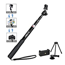 Selfie Stick Gopro with Tripod Stand Monopod Mount for Gopro Hero4,Hero3+ Hero3,Hero+ LCD,Session Camera and iPhone 7/7 plus/SE/6S/6S Plus/6/6 Plus/5S Cell Phones by Mibote