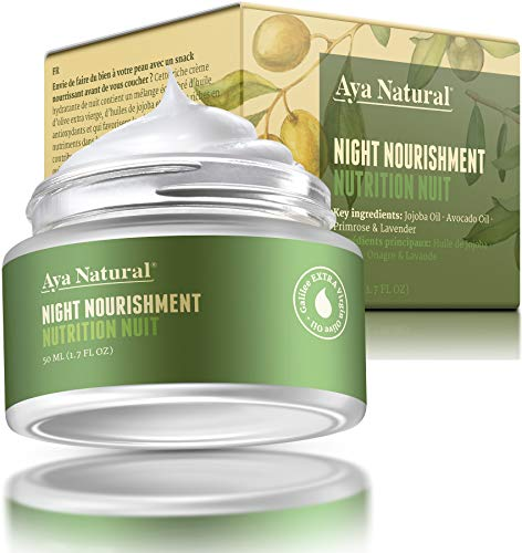 All Natural Night Cream Face Moisturizer - Vegan Anti Aging Night Time Anti Wrinkle Dark Spot Corrector for Dry Skin by Aya Natural
