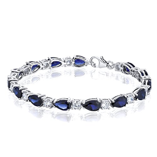 Created Sapphire Bracelet Sterling Silver Rhodium Nickel Finish Tear Drop 13.00 Carats