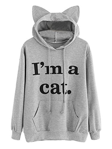 Winter Blouse,Morecome Womens Long Sleeve Cat Slogan Print Hoodie Printing Sweatshirt Blouse Tops