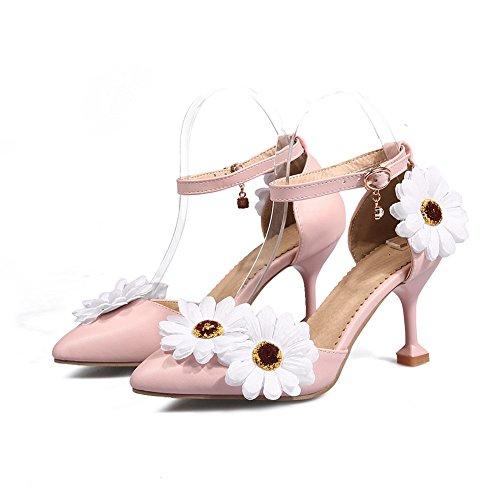 de flor B de tacón de zapatos alto baja boca hebilla hebilla metal la coreana mujer Zapatos de decorativo nueva OUZYIwq