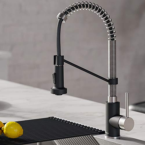 - Kraus KPF-1610SSMB Bolden Kitchen Faucet, Stainless Steel/Matte Black