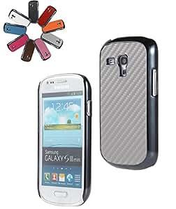 Bralexx 1244 Metálico-1223 Smartphone carcasa de plata del carbón para la galaxia S3 i8200 de mini plata metálica