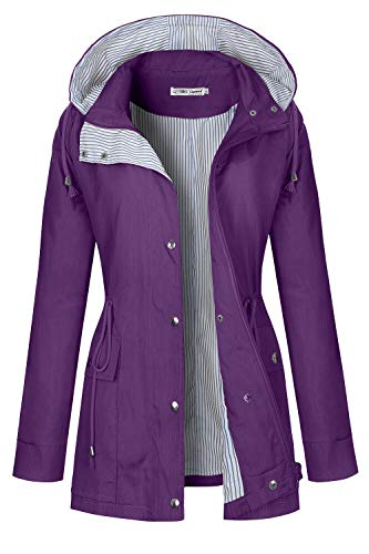 BBX Lephsnt Raincoats Waterproof Rain Jacket Active Outdoor Detachable Hooded Women's Trench Coats Purple