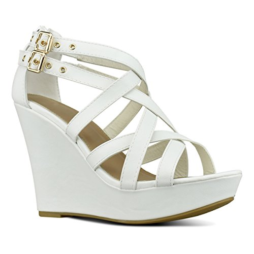 Premier Standard Women's Open Toe Gladiator Strappy Buckles - High Heel Platform Wedge Sandals, TPS Pumps-Eissej White Size 7