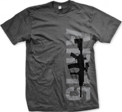 AR-15 Silhouette Men's T-shirt, 2nd Amendment Gun Rights AR15 Design Men's Tee (Charcoal, Large) (Best Ar 15 Brand For The Money)